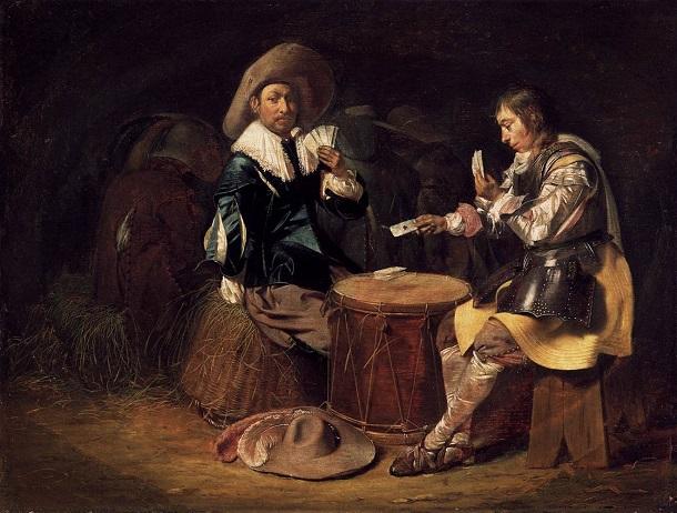 Soldati che giocano a carte